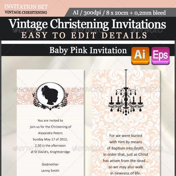Vintage Christening Invitations