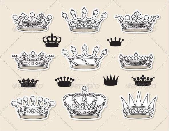 Set vector crowns - Objects Vectors