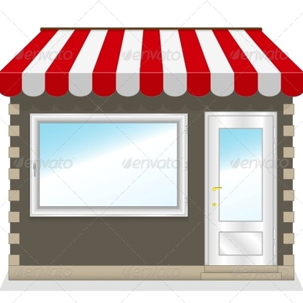 Shop Icon with Red Awnings