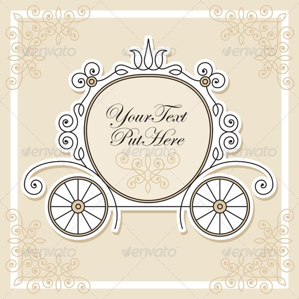 Vector invitation design with wedding carriage - Weddings Cards & Invites