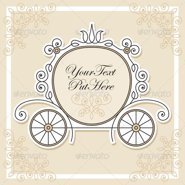 Vector invitation design with wedding carriage