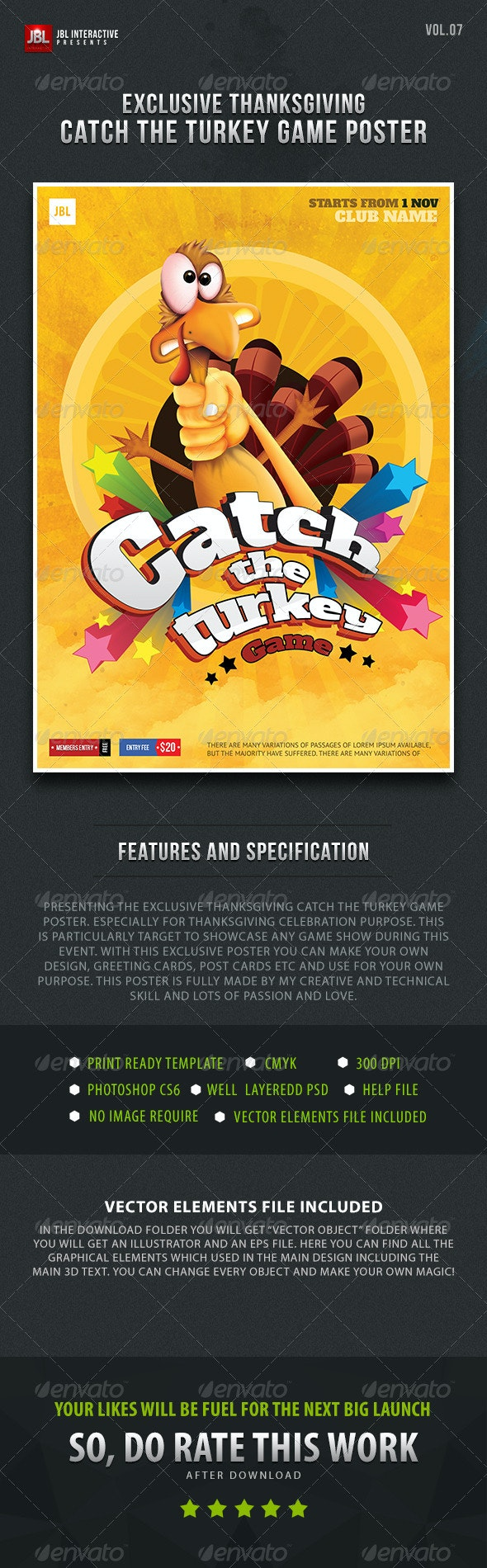 Thanksgiving Catch the Turkey Game Poster - Clubs & Parties Events