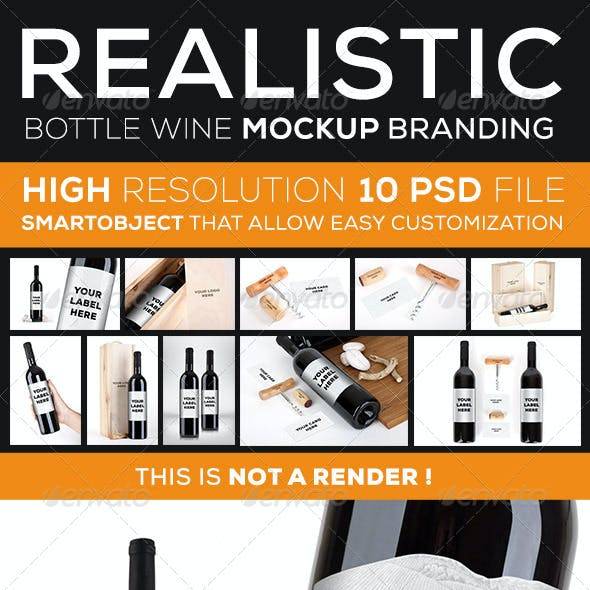 Wine Bottle Branding Mock Up