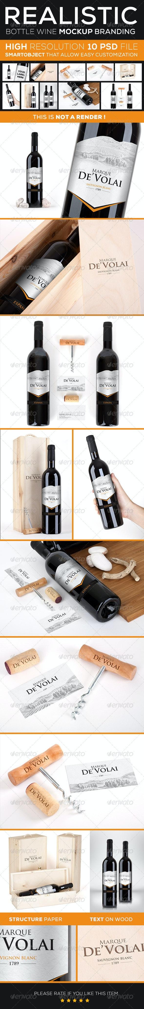 Wine Bottle Branding Mock Up  - Product Mock-Ups Graphics