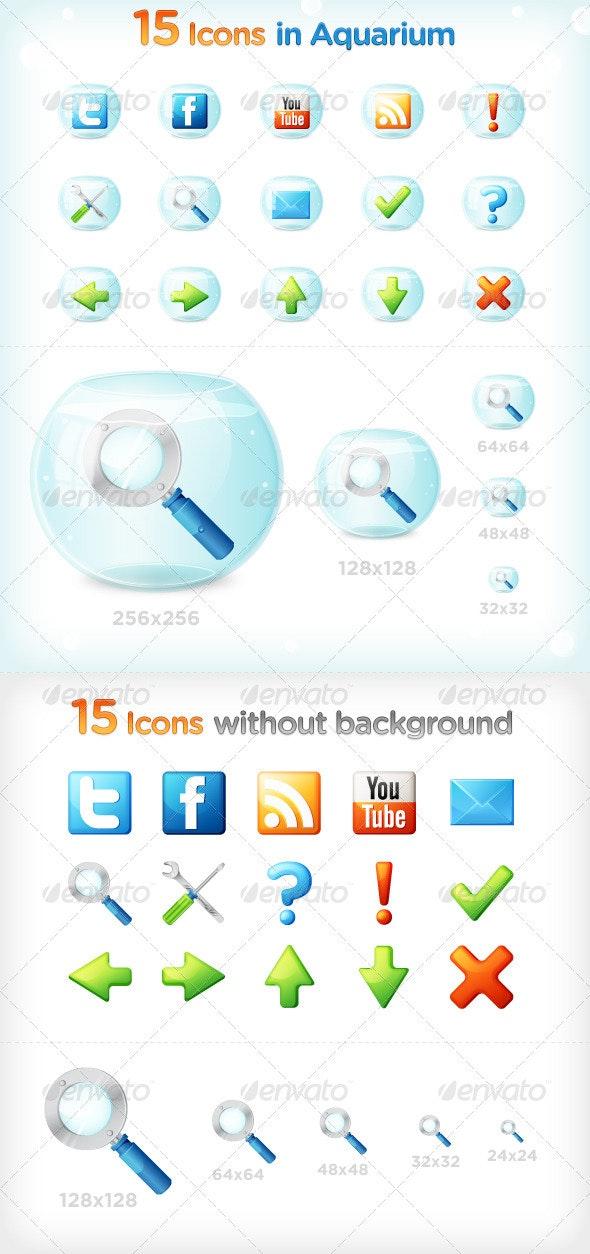 15 Icons in Aquarium - Web Icons
