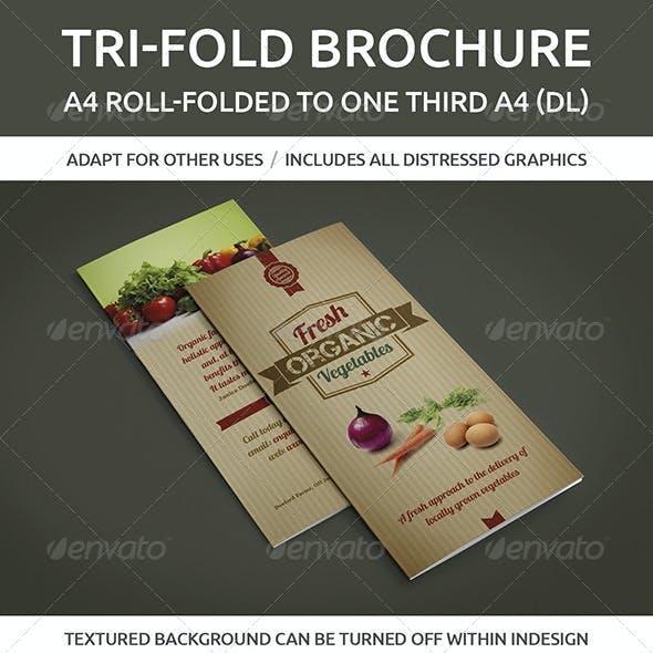 Tri-fold brochure, A4 roll-folded to one third A4