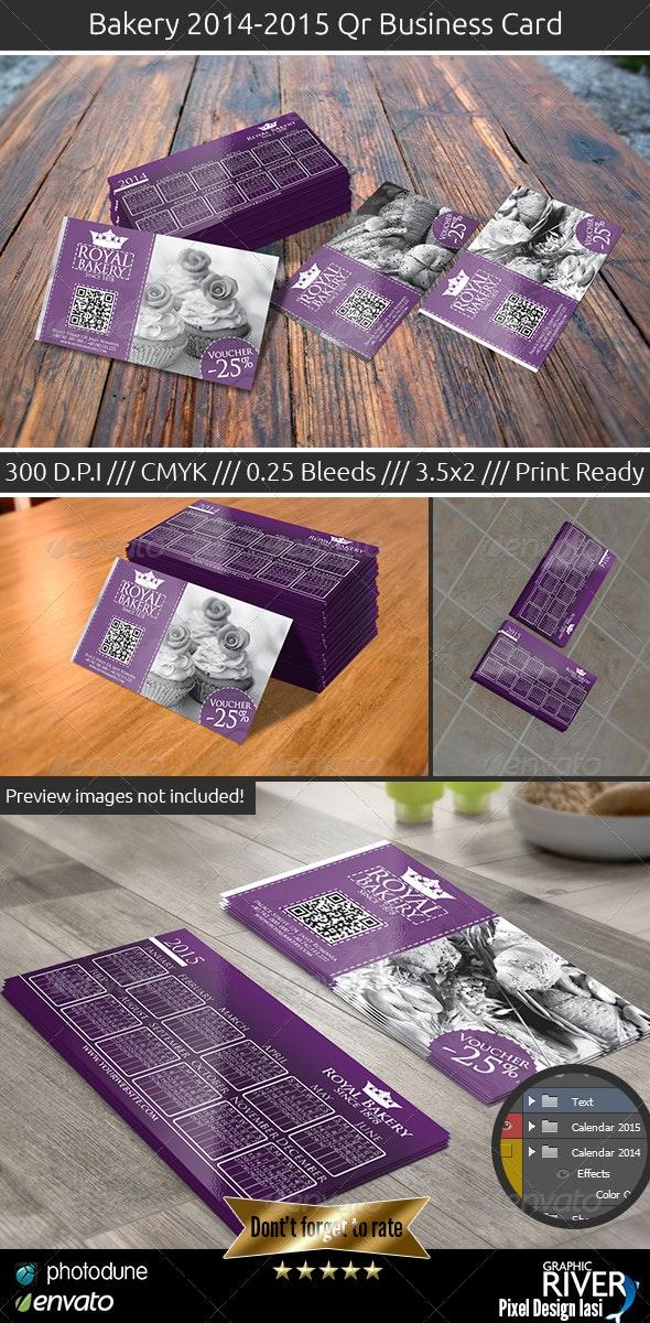Royal Bakery Business Card 2014-2015 Calendar - Business Cards Print Templates