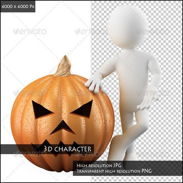 Man Leaning on a Huge Halloween Pumpkin - Characters 3D Renders