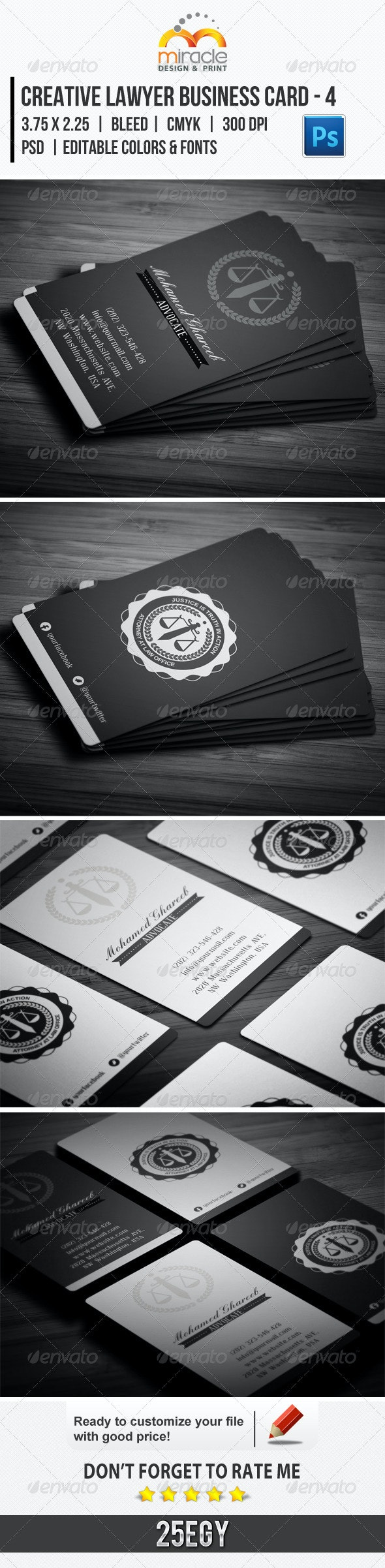 Creative Lawyer Business Card #4 - Business Cards Print Templates