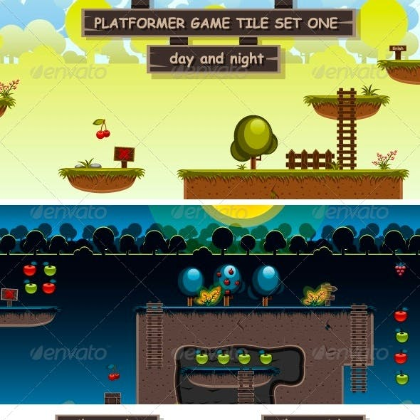 Platformer Game Tile Set One