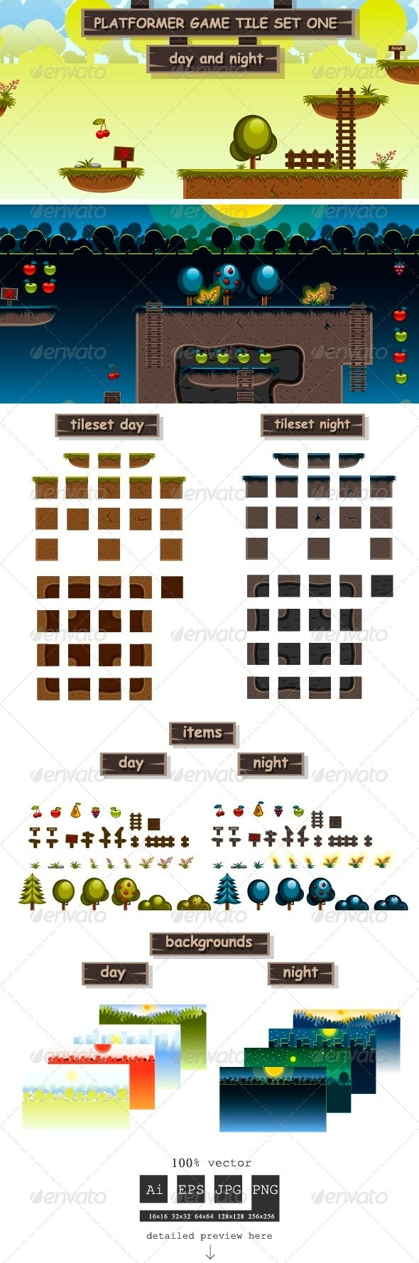 Platformer Game Tile Set One - Tilesets Game Assets