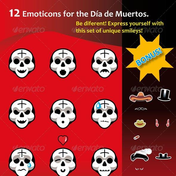 12 emoticons for the mexican Día de Muertos