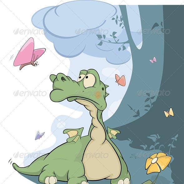 Little Dragon and Butterflies Cartoon