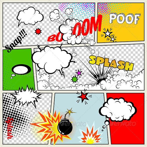 Grunge Retro Comic Speech Bubbles - Miscellaneous Characters