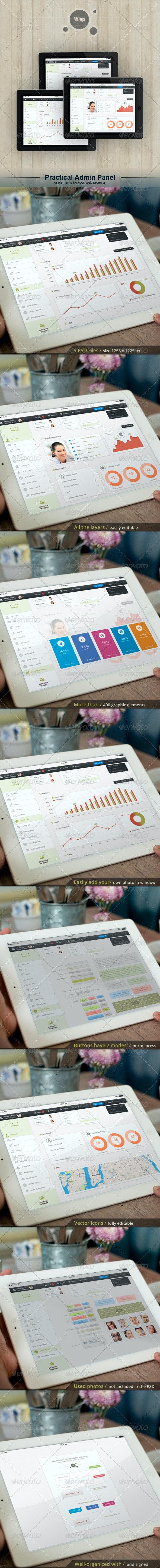 Tablet App. Wisp - Admin Panel - User Interfaces Web Elements