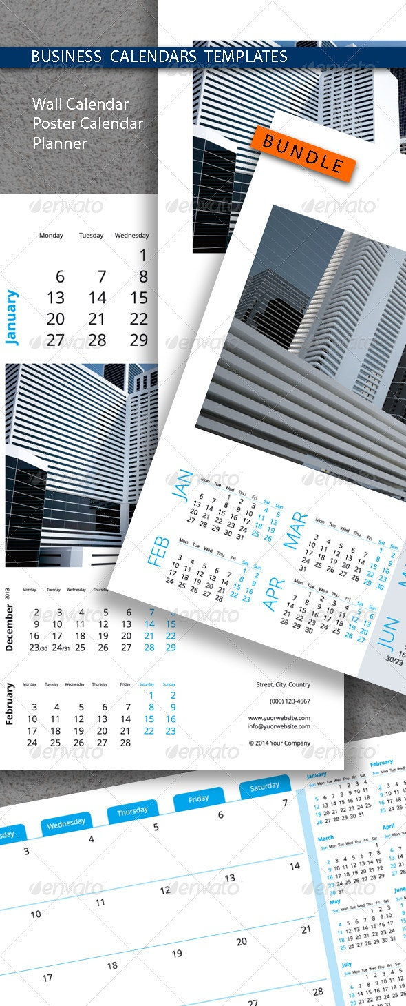 Business Calendars Templates Bundle 2015 (2014) - Calendars Stationery