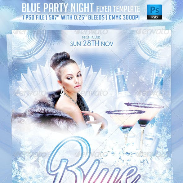 Blue Party Night Flyer Template