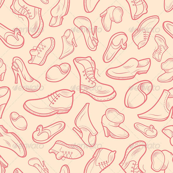 Shoes of Various Type - Patterns Decorative