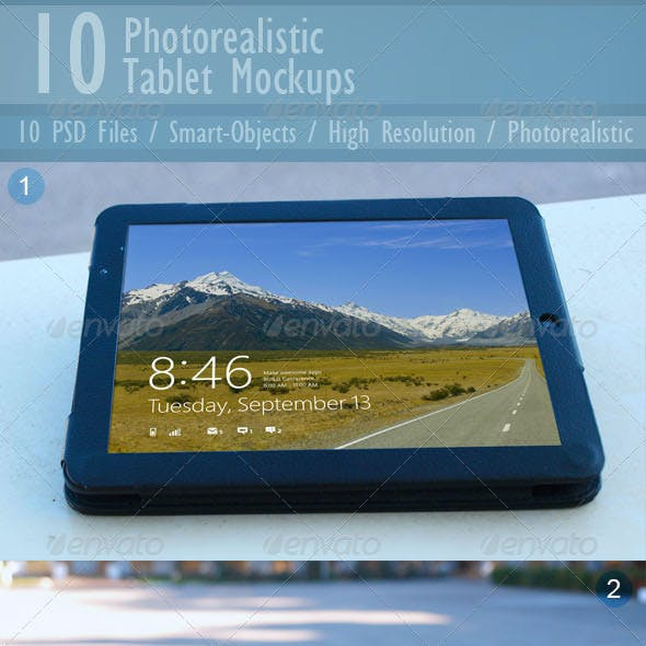 10 Photorealistic Tablet Mock-ups
