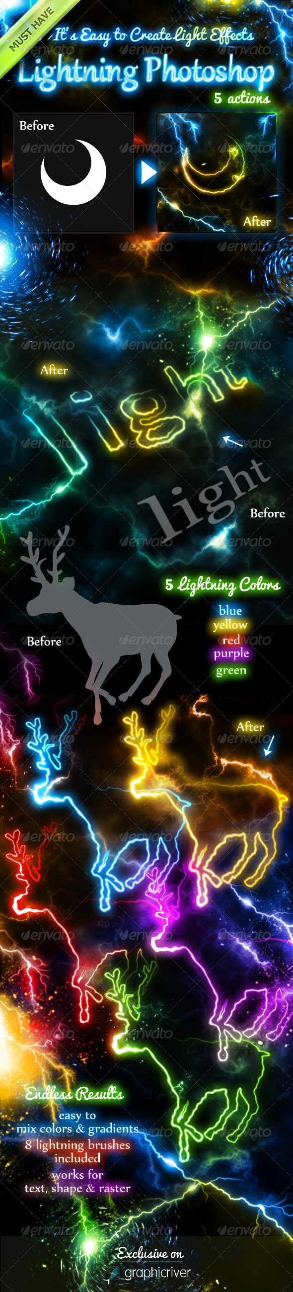 Lightning Light Effects Photoshop Actions - Utilities Actions