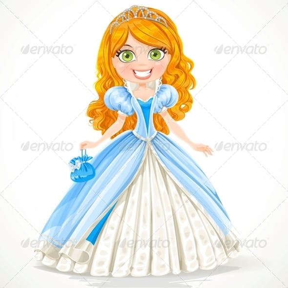 Red-Haired Princess in a Blue Ball Dress