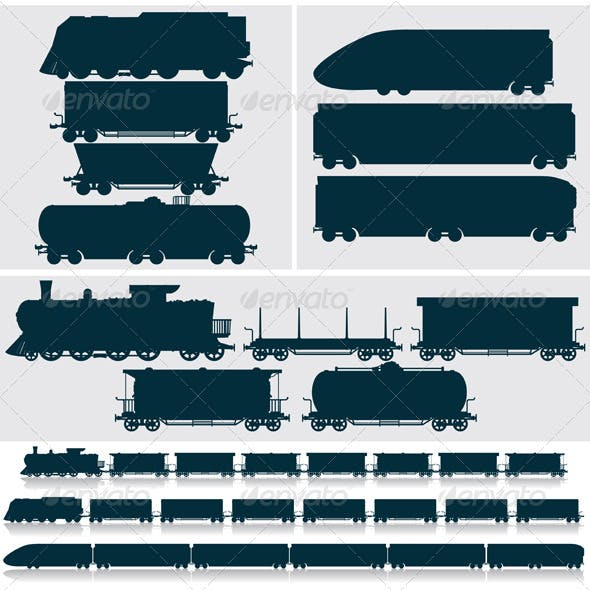 Silhouette Modern, Obsolete, Vintage - Train, Cars