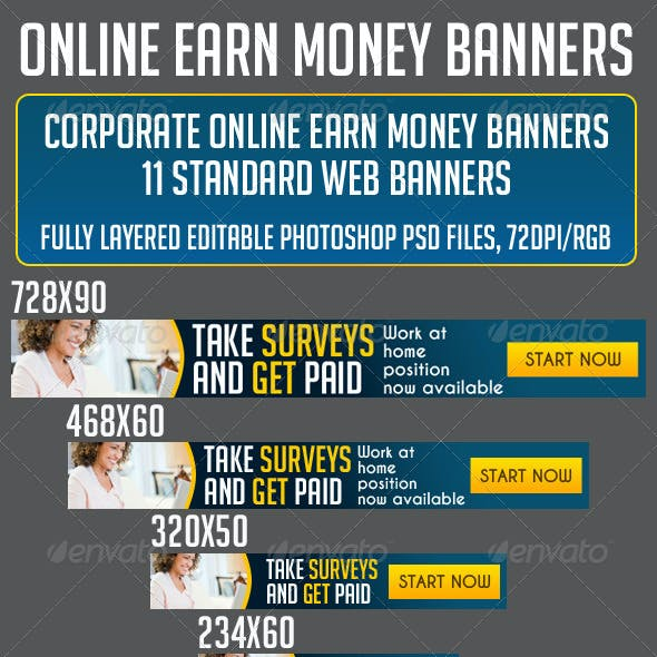 MAKE MONEY ONLINE BANNER SET