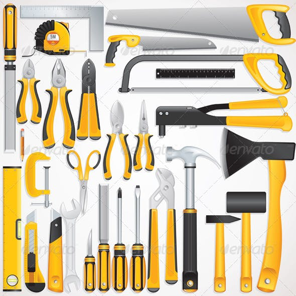 Hand Tools Kit. Isolated Vector Instruments