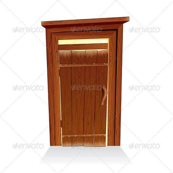 Wooden Toilet House, Countryside Lavatory Vector
