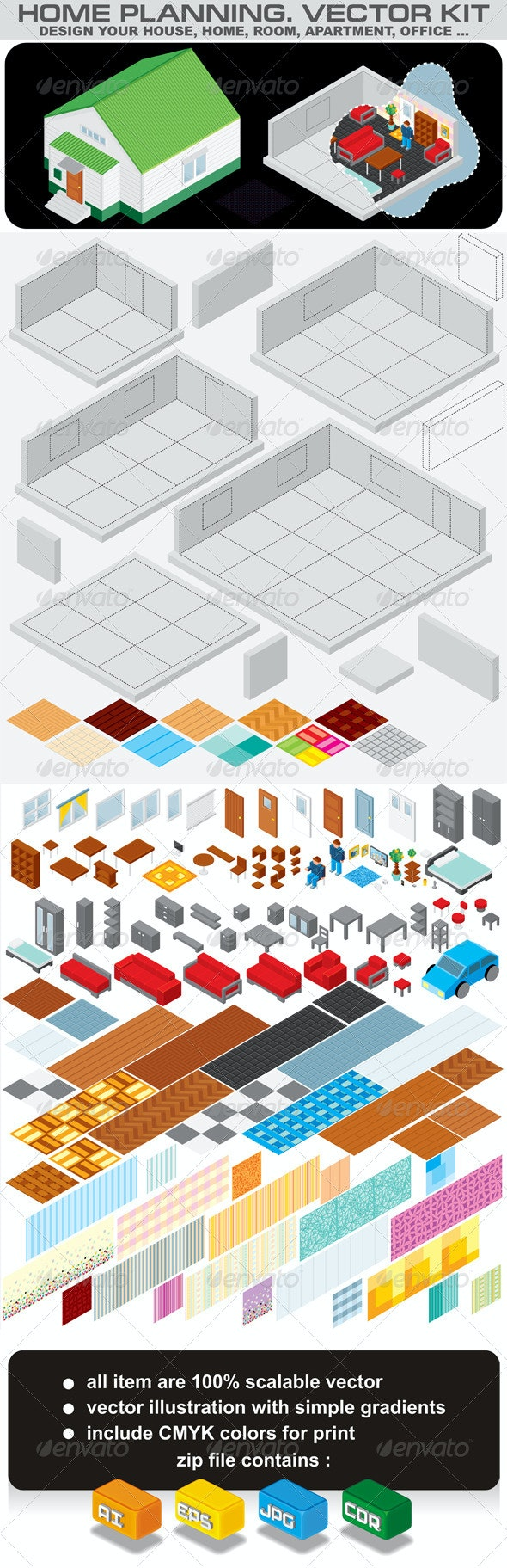Home Planning. Isometric Vector Kit - Buildings Objects