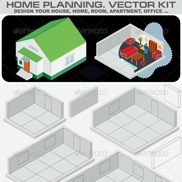 Home Planning. Isometric Vector Kit