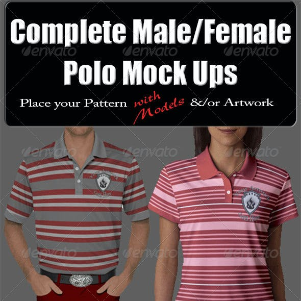 Complete Male & Female Polo with Model Mock-Up