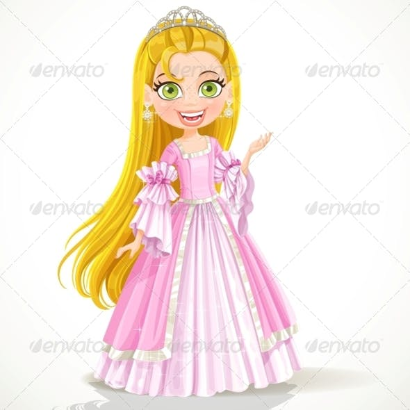 Little Princess in Tiara and Pink Ball Gown