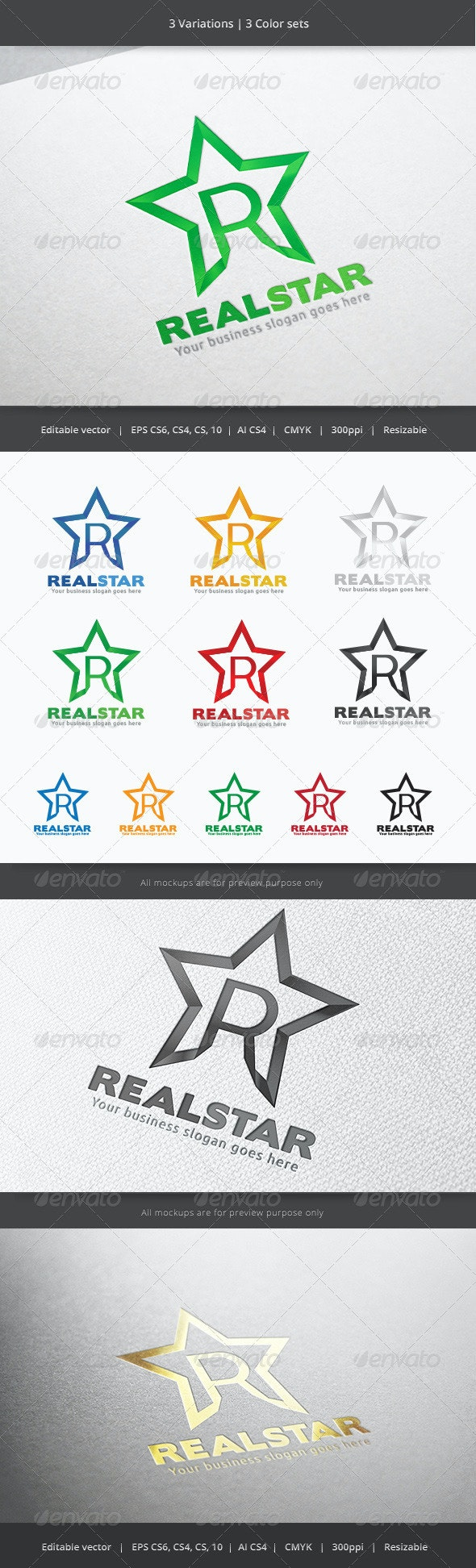 Real Star Letter R Logo - Letters Logo Templates