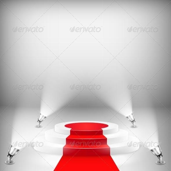 Illuminated Podium with Red Carpet
