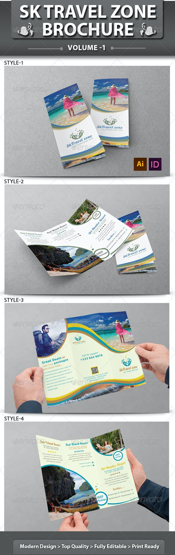 Travel Business Tri-fold Brochure | Volume 1 - Corporate Brochures