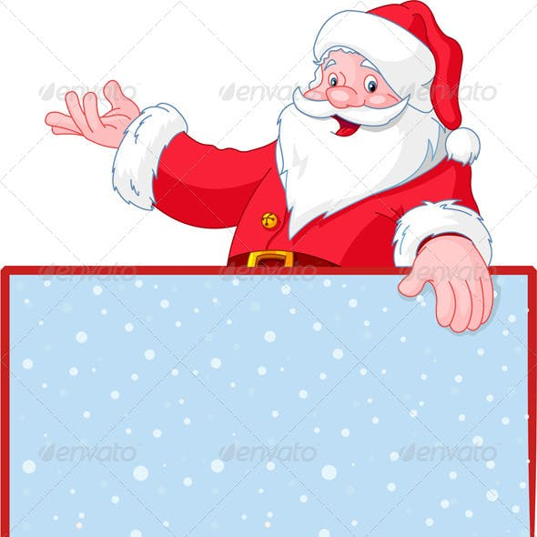 Santa Claus over Blank Greeting Card