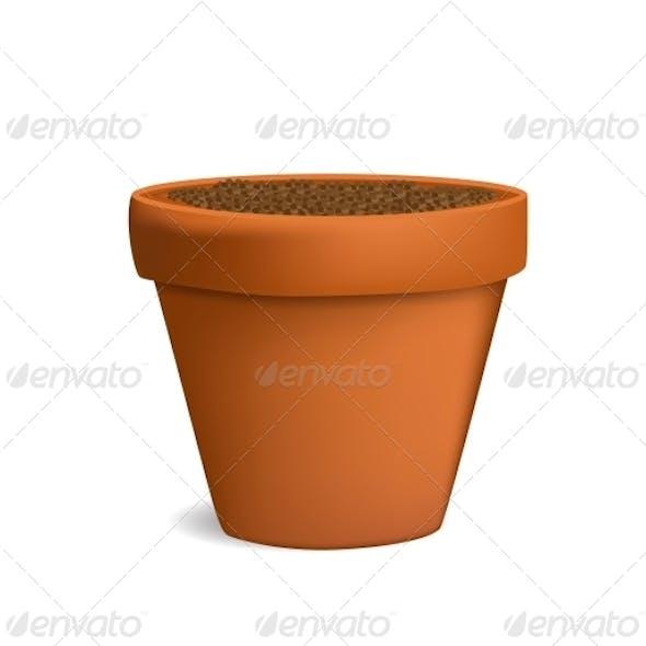 Flowerpot with Dirt Vector Illustration