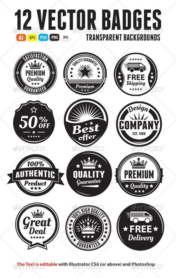 Twelve Scalable Vintage Badges - Badges & Stickers Web Elements