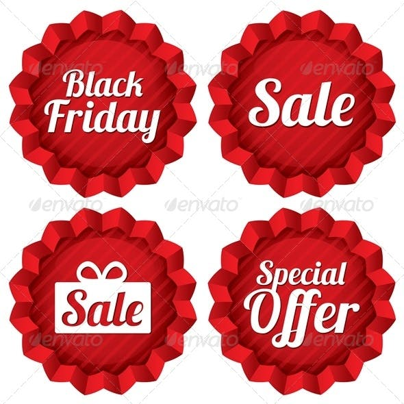 Colorful Black Friday Sale and Special Offer Labels