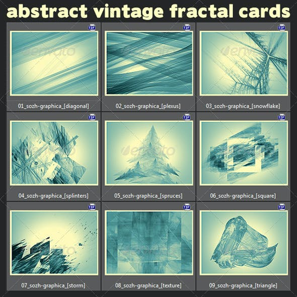 9 Abstract Fractal Vintage Cards