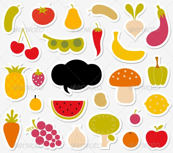 Fruits And Vegetables Sticker - Food Objects