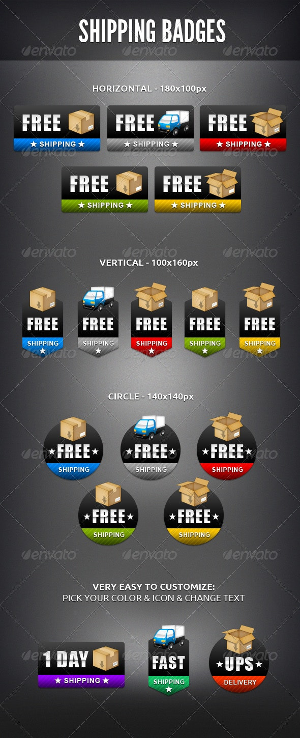 Shipping Badges - Badges & Stickers Web Elements