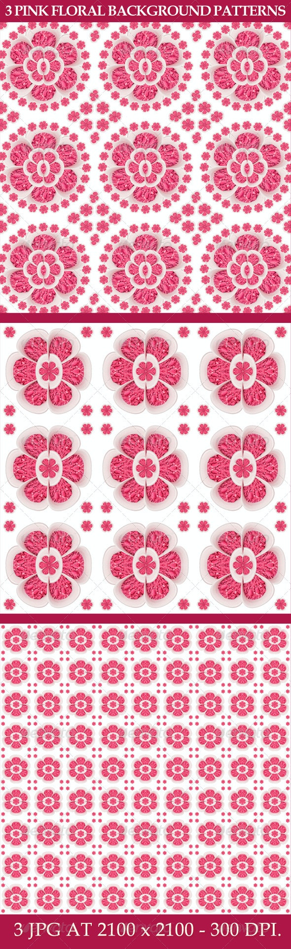 3 Pink Floral Background Patterns By Rudimencial Graphicriver