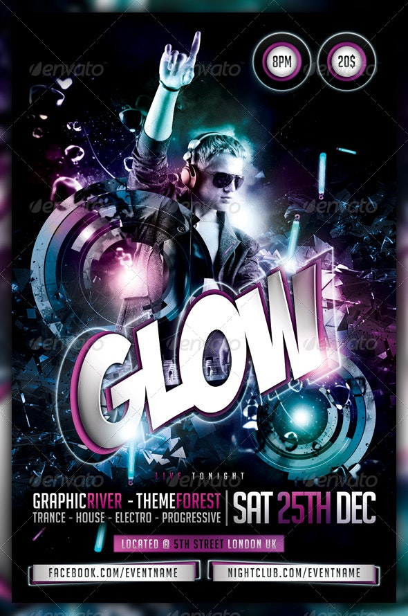 Glow / Neon / Dance Party Flyer / Poster - Clubs & Parties Events