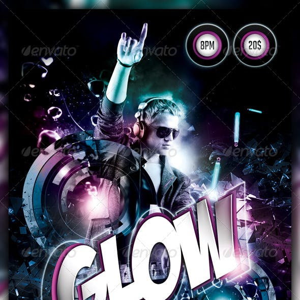 Glow / Neon / Dance Party Flyer / Poster