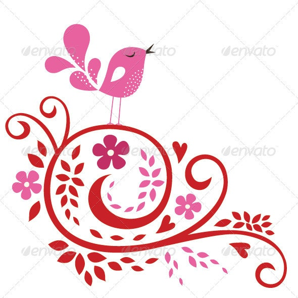 Bird And Flower Card  - Flowers & Plants Nature