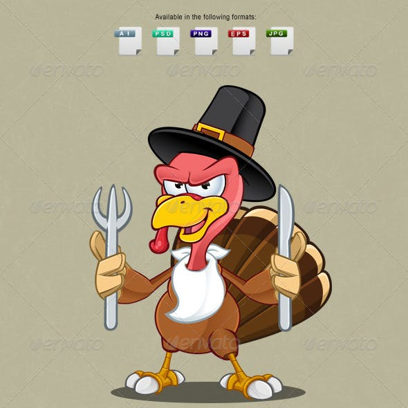 Turkey Mascot - Knife & Fork