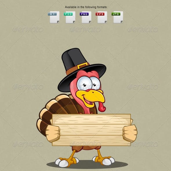 Turkey Mascot - Holding Wooden Sign