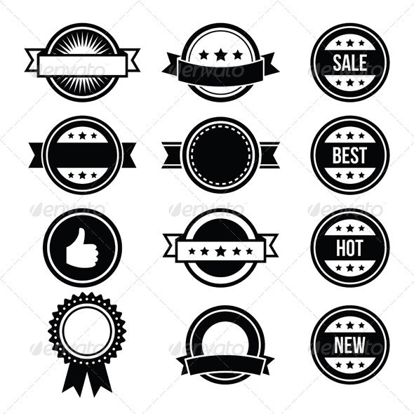 Retro Round Badges, Vintage Labels Set - Vector - Decorative Symbols Decorative